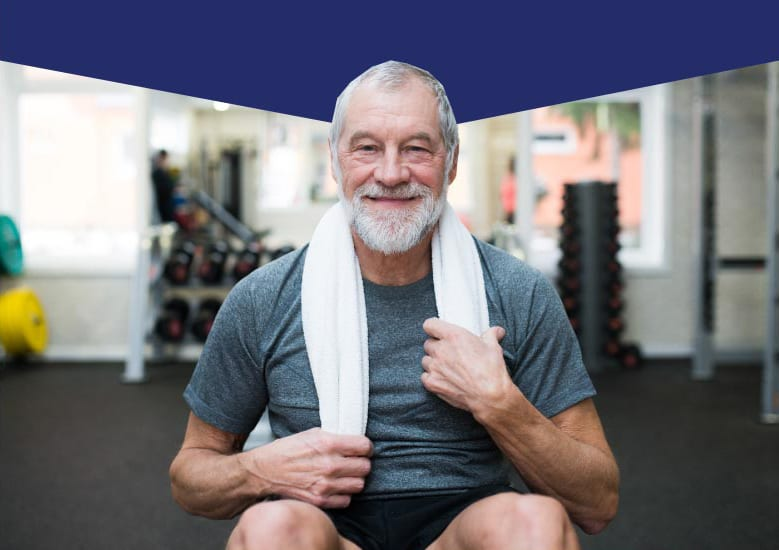 Senior without knee pain at a gym